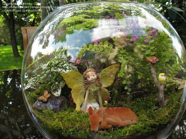 mini garten gestaltungsideen terrarium glaskugel pflanzen