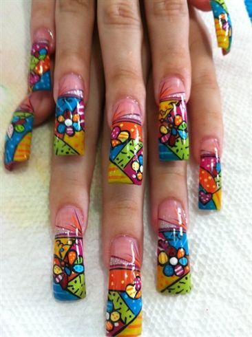 britto pintado a mano by eimy_djej - Nail Art Gallery nailartgallery.nailsmag.com by Nails Magazine www.nailsmag.com #nailart