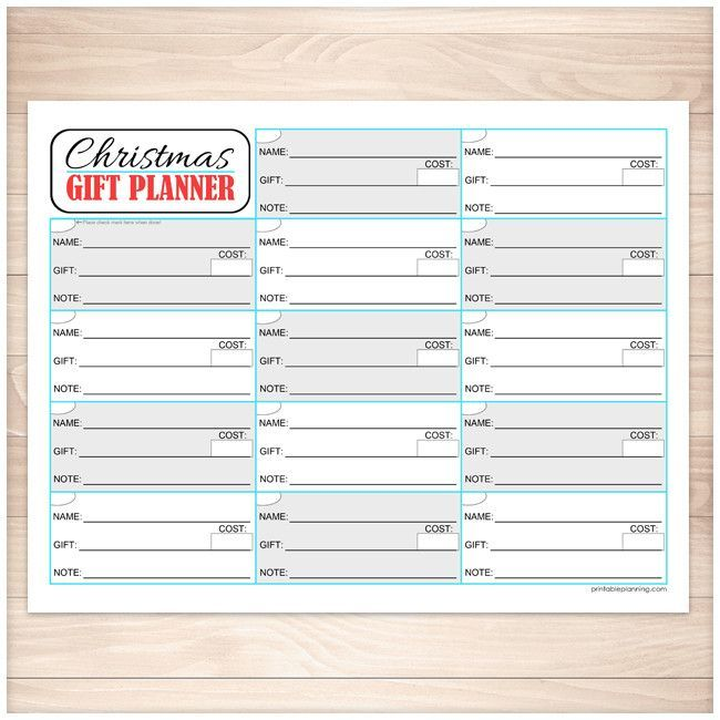 Printable PDF page that is used to track the gifts or presents you plan on buying for Christmas. This sheet is designed in a grid layout with a lines in each section for the name of the person you're