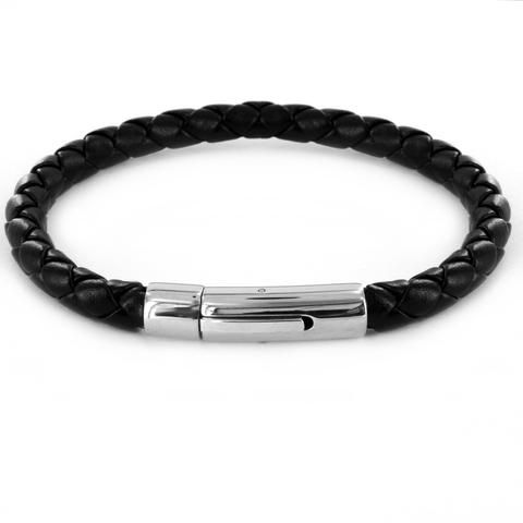 B047002 - Men's Braided Black Leather Bracelet with Stainless Steel Closure