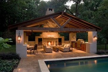 Pool house contemporary patio, very cool but are those sofas? Won't they get…