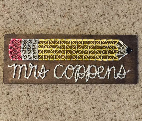 Teacher Name string art MADE TO ORDER by SeasonOfSeeking on Etsy