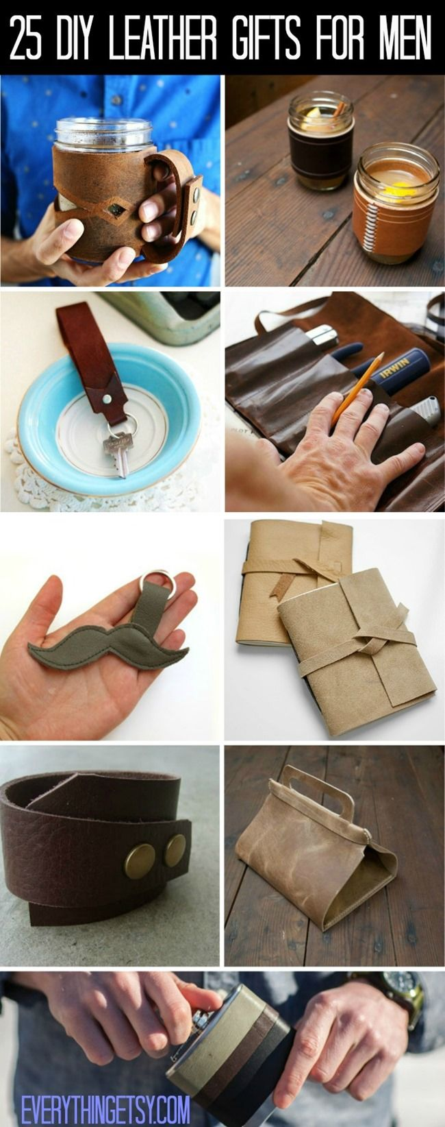 25 DIY Leather Gifts for Men Shopping for gifts for men can be super difficult. Go ahead and make them something extra special this time with this collection of DIY leather gifts! They will love it, a