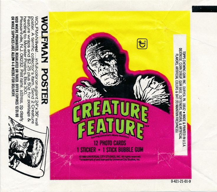 1980 TOPPS CREATURE FEATURE MUMMY WAX WRAPPER