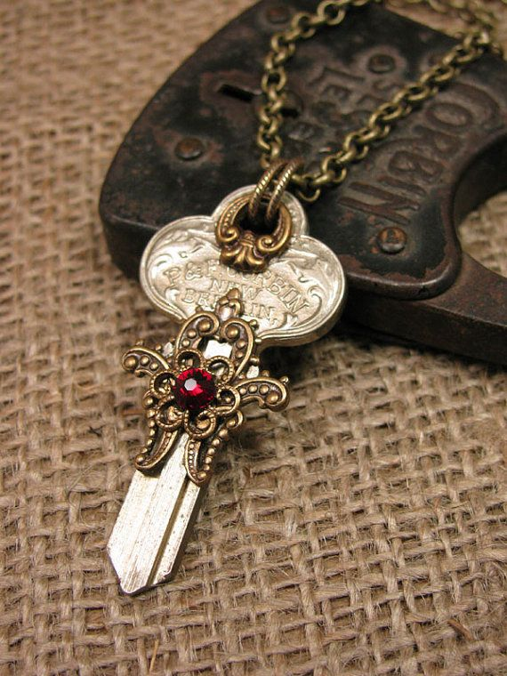 "Skeleton Key Jewelry - Upcycled Uncut New Old Stock ""Corbin"" brand Vintage Door Key Steampunk Styled Necklace"