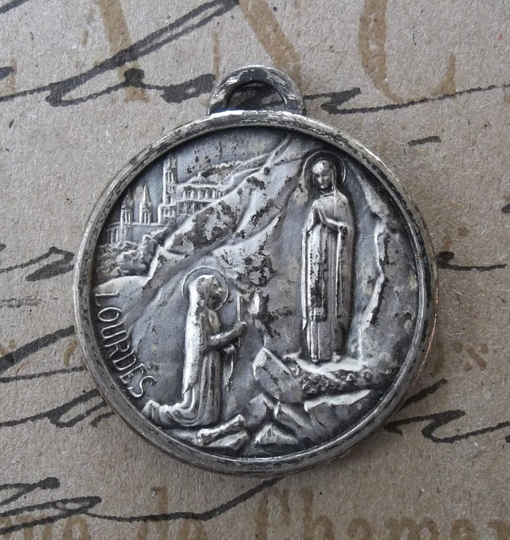 Our Lady Of Lourdes French Engravable Holy Medal Blessed Virgin Mary, Saint Bernadette Soubirous Praying In The Grotto, & Saint Christopher