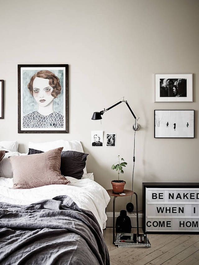 Greige Wall And Art In The Bedroom Stadshem