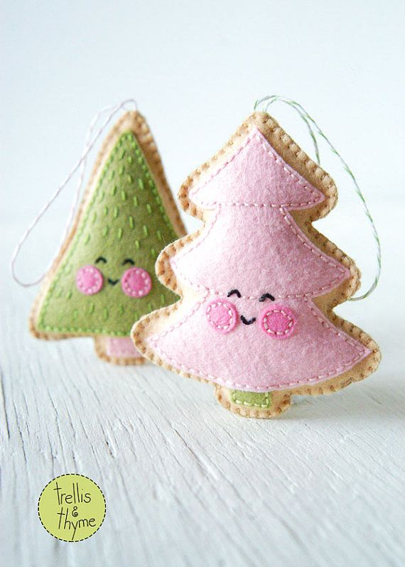 These merry little Christmas trees are the perfect ornaments for your holiday decor! These darling felt cookies are stitched entirely by hand, and