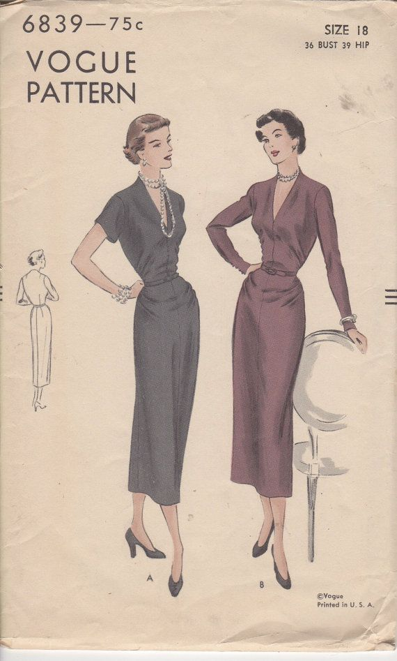 FACTORY FOLDED RARE 1950's Misses' Dress Vogue 6839 Size 18 Bust 36