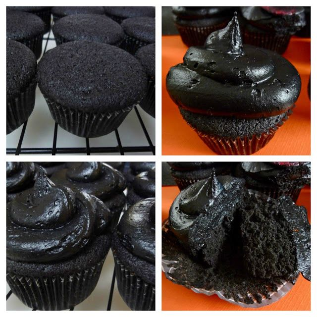RECIPE: Black Velvet Cupcakes with Black Buttercream Frosting For Halloween.  Beware the Birds! Black & White Theme Poe & Hitchcock Party Decorations & Ideas for Halloween