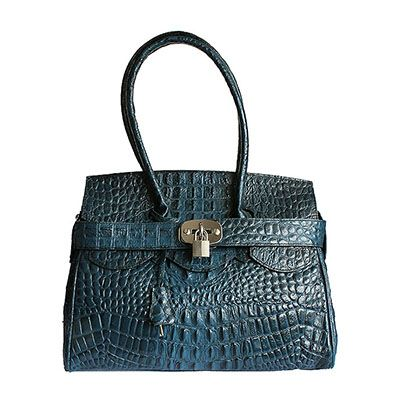 Italian Twist Lock Blue Croc Leather Shoulder Bag - Down to £49.99 from £84.99