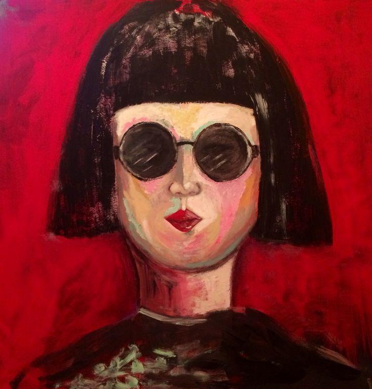 """Girl with an Attitude"" Acrylic on canvas 40x40"" by Marie Lardino"