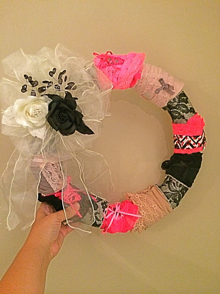 Panty Wreath for a lingerie shower! Super easy and cute decoration & gift!