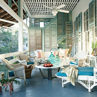 Love the shutters.  Great PorchDecor, Ideas, Old Shutters, Beach House, Outdoor Living, Old Windows, Living Room, Outdoor Spaces, Front Porches