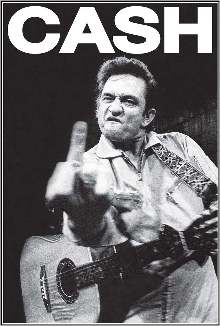 "The infamous Johnny Cash flippin the bird - Black & White - Measures: 24"" x 36"" - Comes Rolled"