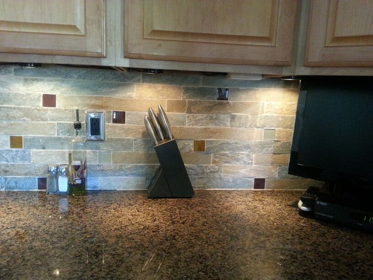 Kitchen Backsplash Idea Stone With Small Glass Tile Mixed In