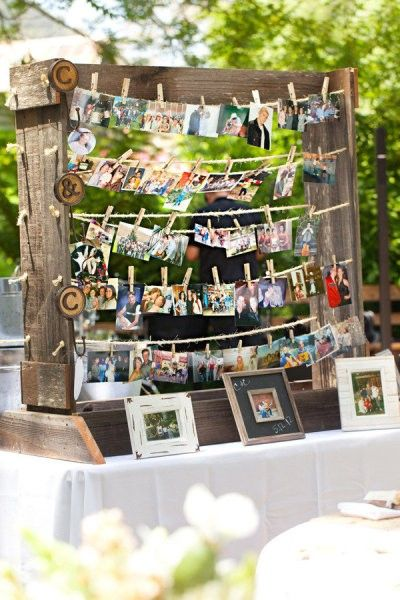 Guests bring a favorite picture with the bride/groom. Impromptu collage that doubles as a fun memory/wedding gift. Write a note on the back and put up with a clothes pin.