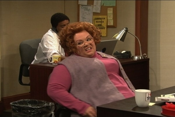 Melissa McCarthy SNL Arlene Office Skit. If you search this on utube, you will die!!! It's so funny.