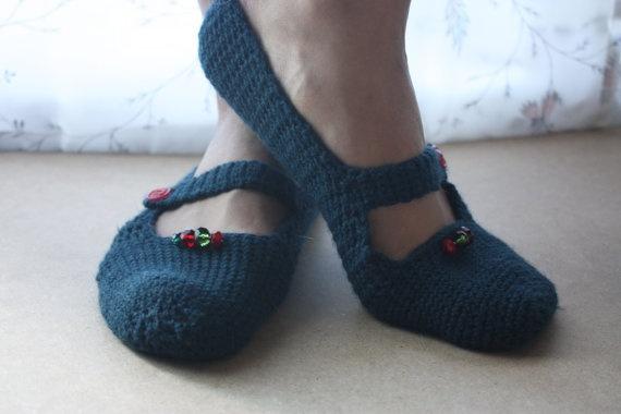 Mary Jane Crochet Slippers for Women in Dark Teal by WhiteBergamot, €14.00