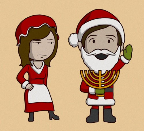 WWW.GABEDRAWS.COM | #art #illustration #christmas #hanukkah #santa #menorah #holiday