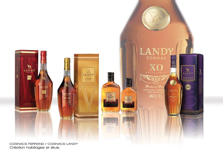 Cognacs Ferrand - Cognac Landy - Créations habillages de la gamme + étuis VS, VSOP, XO Excellence.