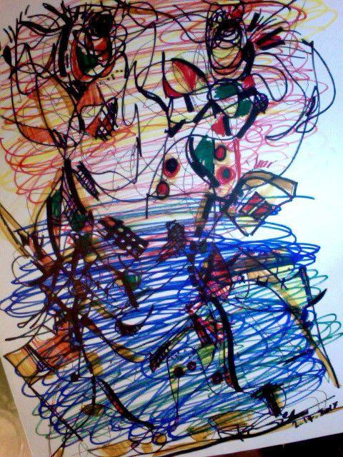 EYEYS Original Art Drawing Modern Abstract Blue Home Decor Contemporary RegiaArt #Expressionism