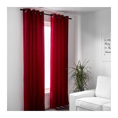 SANELA Curtains, 1 pair, red 55x98
