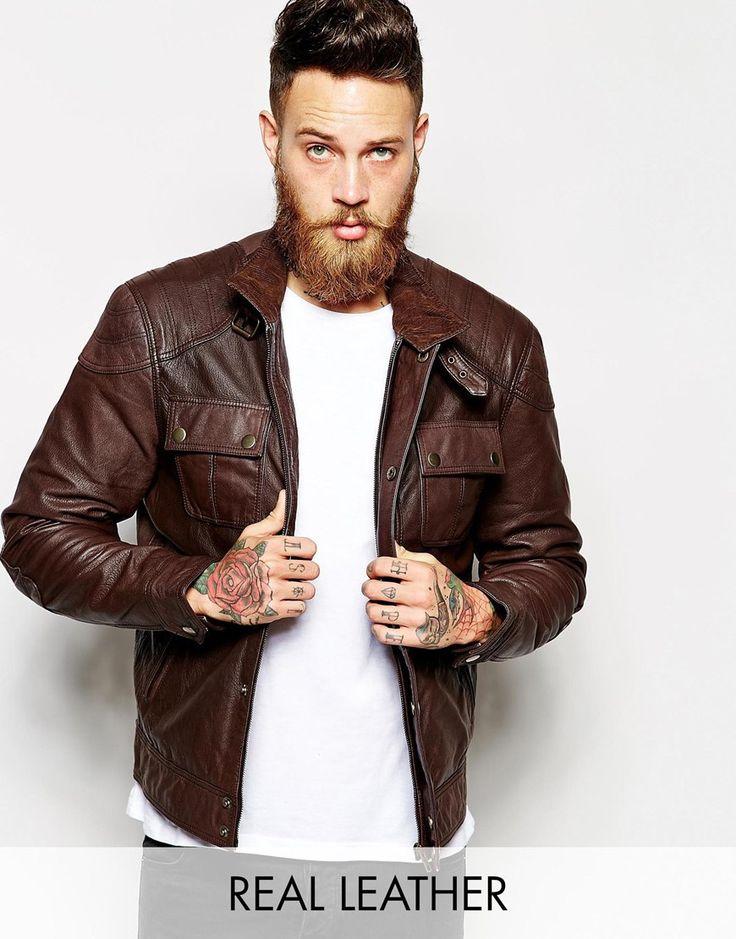 ASOS Leather Jacket - Brown