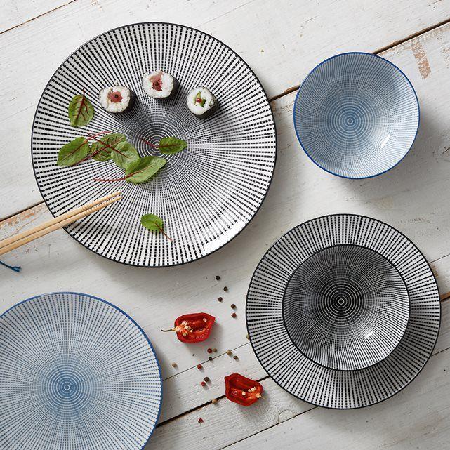 Confezione da 4 piatti da dessert  Shigoni. D'ispirazione asiatica con il suo effetto a strisce. Smalto porcellanato. Dimensioni: Ø21,5 cm. Compatibile con lavastoviglie e forno a microonde. Ciotola e piatto piano coordinati venduti sul sito.