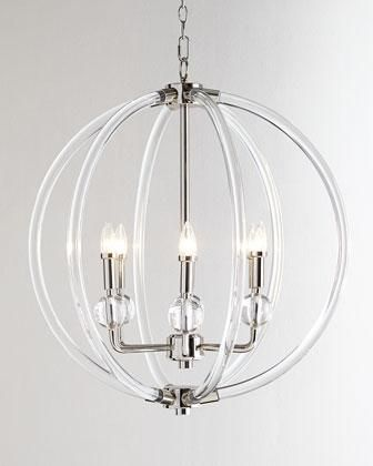 Lucite silver six light pendant in clear interior lightinghome