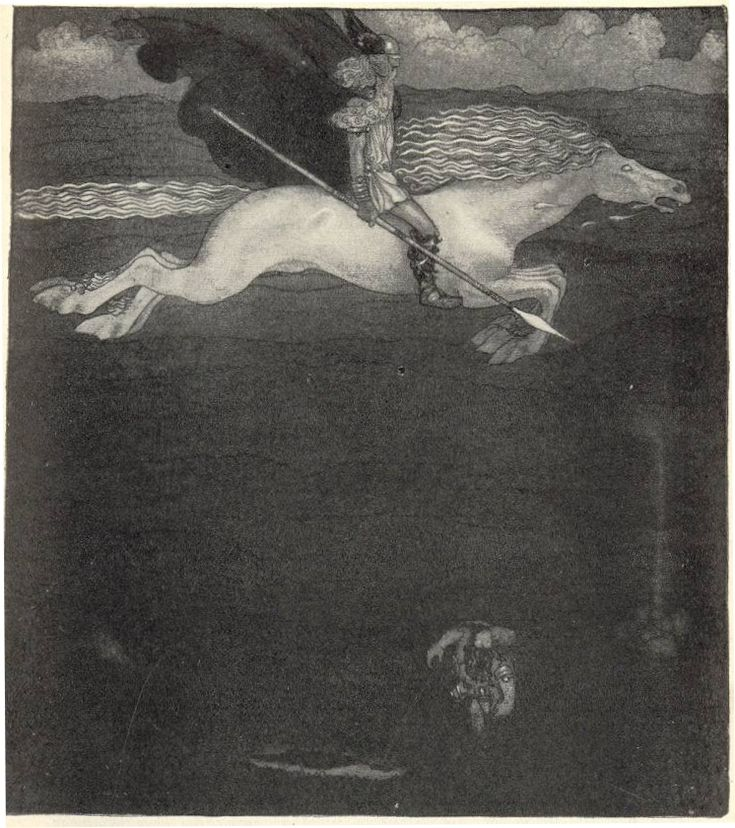 Odin and Sleipnir illustrated by John Bauer in 1911 for Our Fathers' Godsaga by Viktor Rydberg