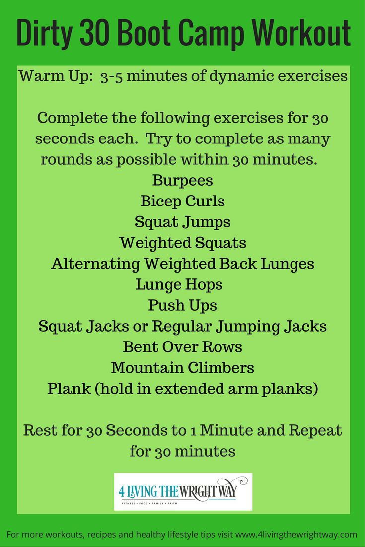 Dirty 30 Boot Camp Workout                                                                                                                                                                                 More