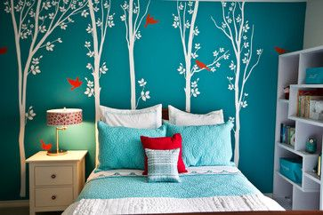 Bedroom Ideas by Interior Designers in Turquoise...trying to think of colors other than pink for Lucy