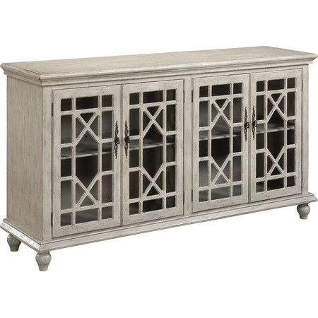 Showcasing Latticed Glass Doors And A Textured Ivory Finish This Sideboard Offers Timeworn Elegance To Your Den Or Dining Room