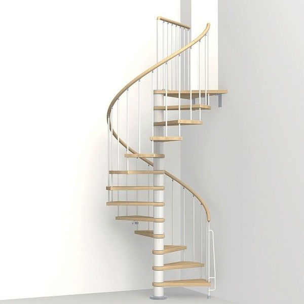 Best Arke Phoenix 3 Ft 11 In White Spiral Staircase Kit 400 x 300