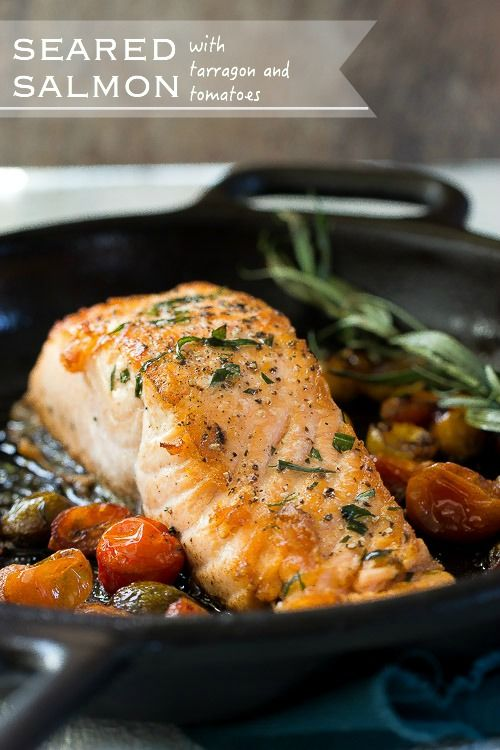 Cast Iron Skillet Seared Salmon with Tarragon and Tomatoes: