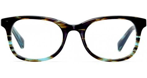 Warby Parker Clyde Eyeglasses in Blue Marblewood [48-18-140] -- Too bold/dark. Lenses that are less round would probably work better for my face. Bridge is just about right, could be slightly narrower.