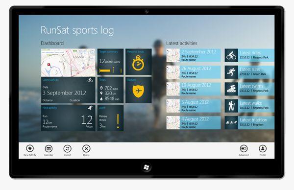 RunSat Windows 8 App by Neil Sharp, via Behance