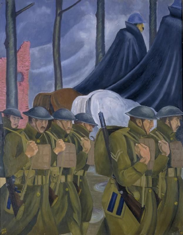 Art.IWM ART 1162     A French Highway, 1918, by John Nash. John Nash was appointed as an official war artist in April 1918 following vigorous canvassing by his brother Paul. This 1918 painting shows two mounted French officers, in their distinctive helmets and dark blue cloaks, alongside marching British soldiers. The 45 mile (72 km) road between Bar-le-Duc and Verdun was the most important route in and out of the beleaguered Verdun salient. It became known as the Voie Sacrée, or Sacred…