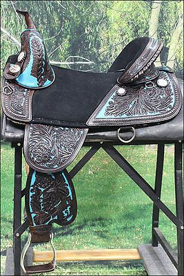 TW101DBTQ-A HILASON BROWN TREELESS WESTERN TRAIL BARREL RACING SADDLE 17""