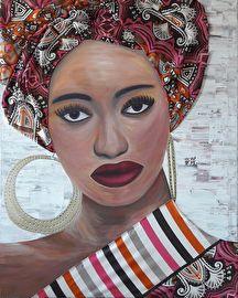 Schilderij van een Afrikaanse vrouw. Geschilderd met acrylverf en bewerkt met Afrikaanse stoffen.