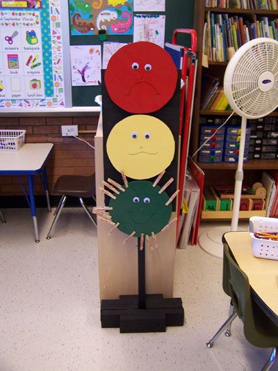 Put names on clothespins and daily start them out on green. Yellow means warning, and Red means they dont recieve prize at the end of the day.