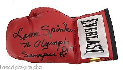"""LEON SPINKS SIGNED BOXING GLOVE #D/10 INSCRIBED """"76 OLYMPIC GM & SEMPER FI"""" ALI"""