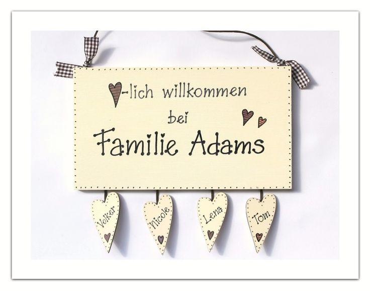 Türschild Willkommen Namensschild von byAnnoDomini via dawanda.com