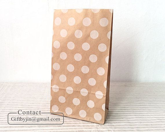 12 Kraft Paper Gift Bags with white dot_Wedding by MyElevenEleven