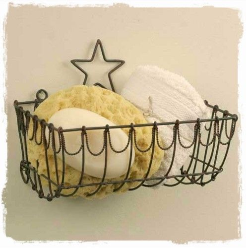 Photos On Wall Mount Country Cottage Farmhouse Wire Basket with Star
