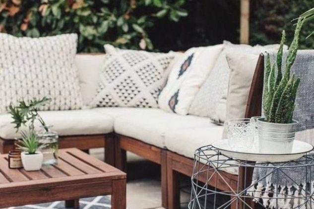 Geometric Cushions On Ikea Applaro Outdoor Sofa In 2020 Ikea Applaro Outdoor Sofa Geometric Cushions