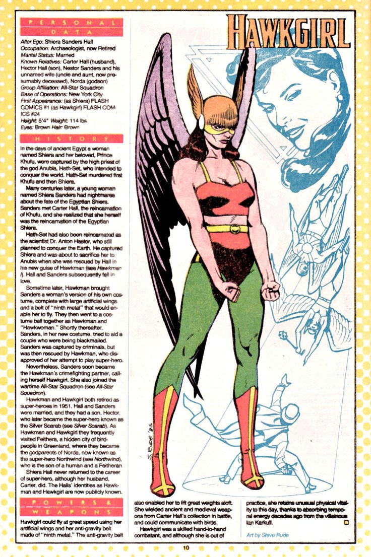DC Comics Showcase, Who's Who entry: Hawkgirl, artwork by Steve Rude,...