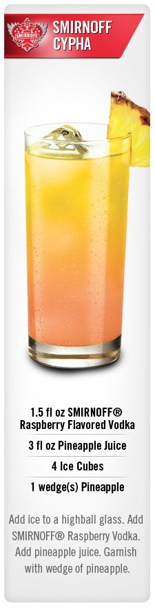 Smirnoff Cypha drink recipe with  Smirnoff Raspberry flavored vodka and pineapple juice - perfect easy drink for your summer party #Smirnoff #vodka #drink #recipe