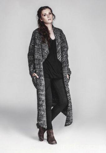 Płaszcz długi szary WELL DRESSED - płaszcz, szary, długi płaszcz, płaszcz na zimę